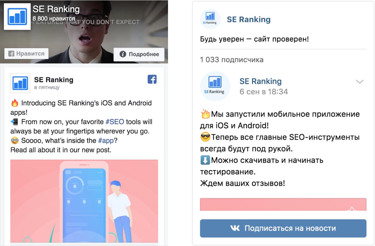 Как выглядят виджеты VK и Facebook