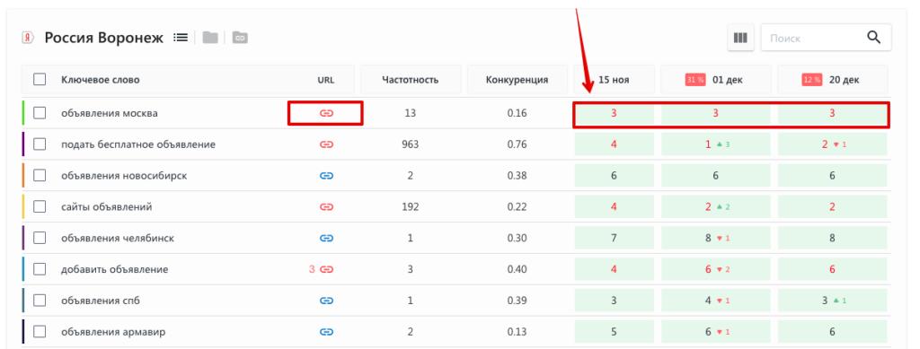 позиции в SE Ranking
