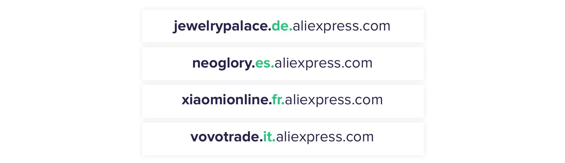 Четырехуровневые поддомены AliExpress - для разных стран и категорий товаров