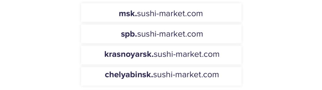 Региональные поддомены на примере Суши-Маркета