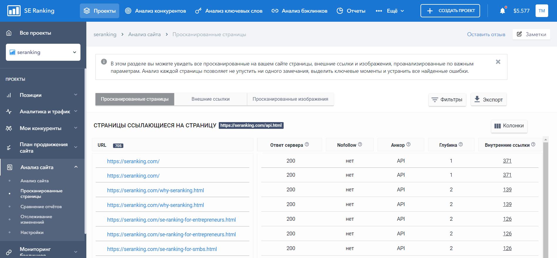 Список ссылок и их параметров