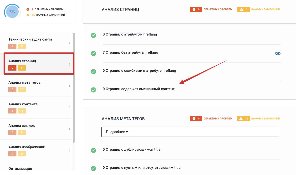 анализ сайта в se ranking