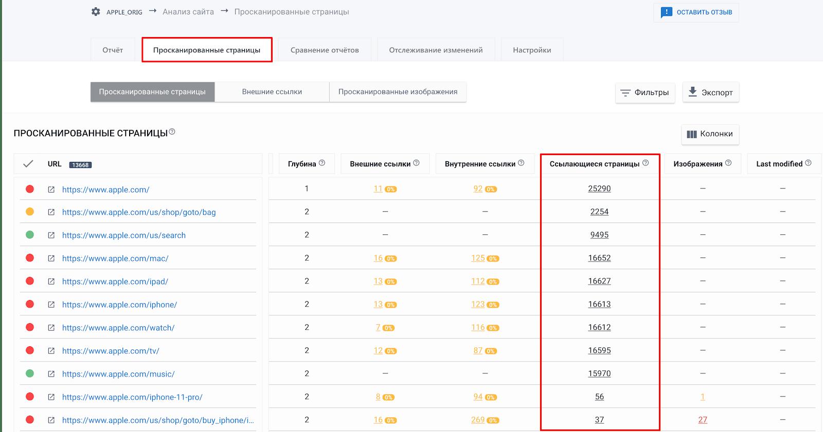 """Ссылающиеся страницы в инструменте """"Анализе сайта"""" SE Ranking"""