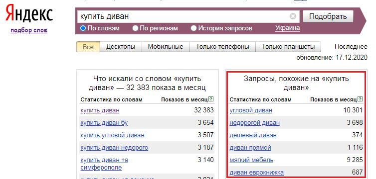 Похожие запросы в Яндекс.Вордстат