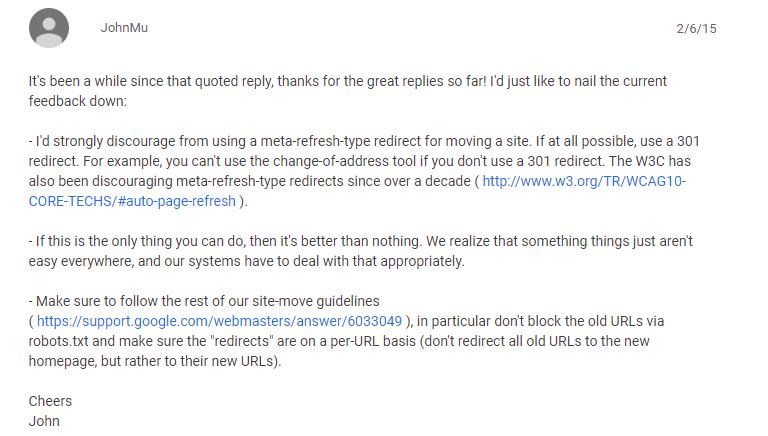 Джон Мюллер об HTML-редиректах
