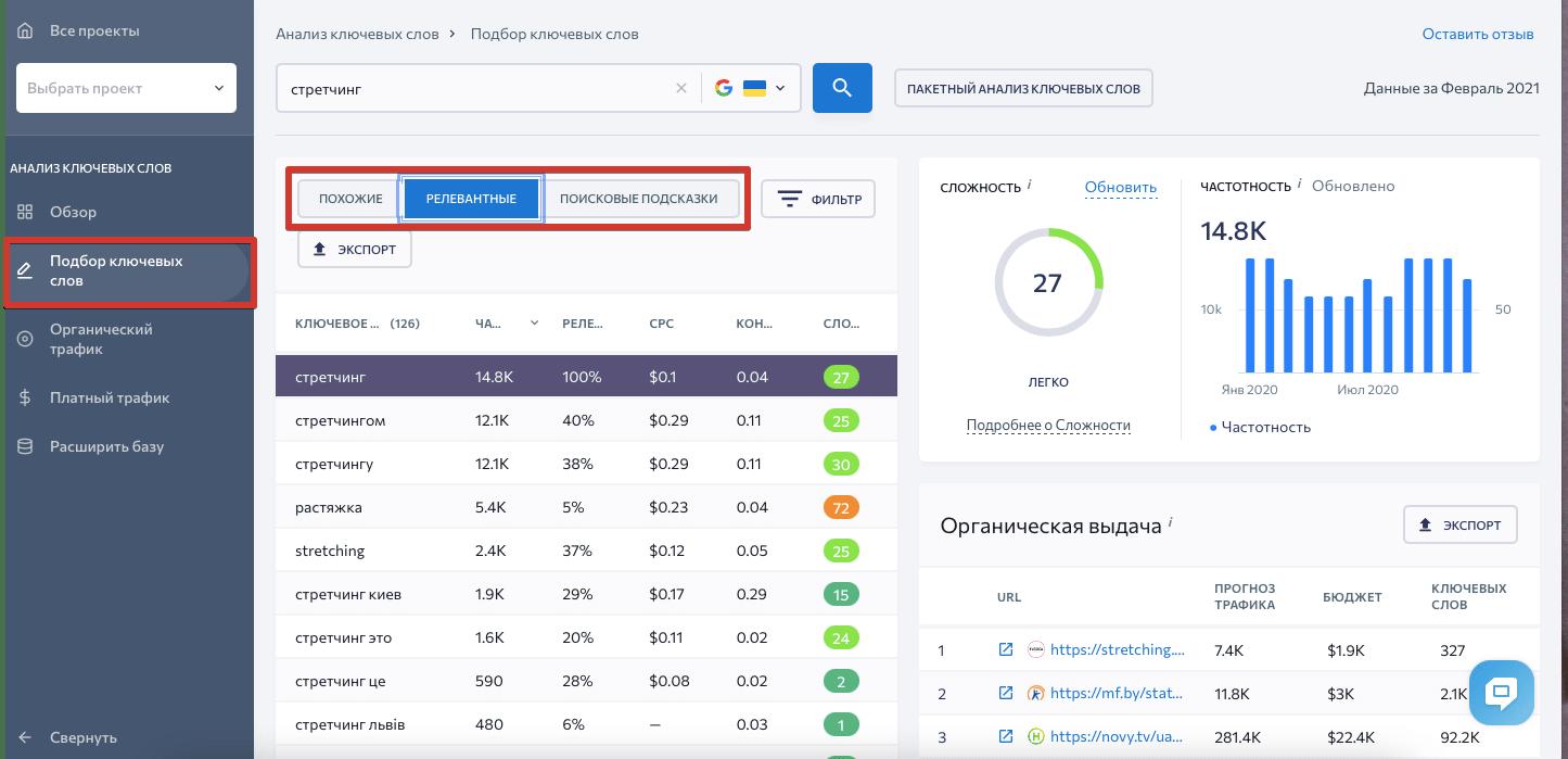 Подбор ключевых слов в SE Ranking