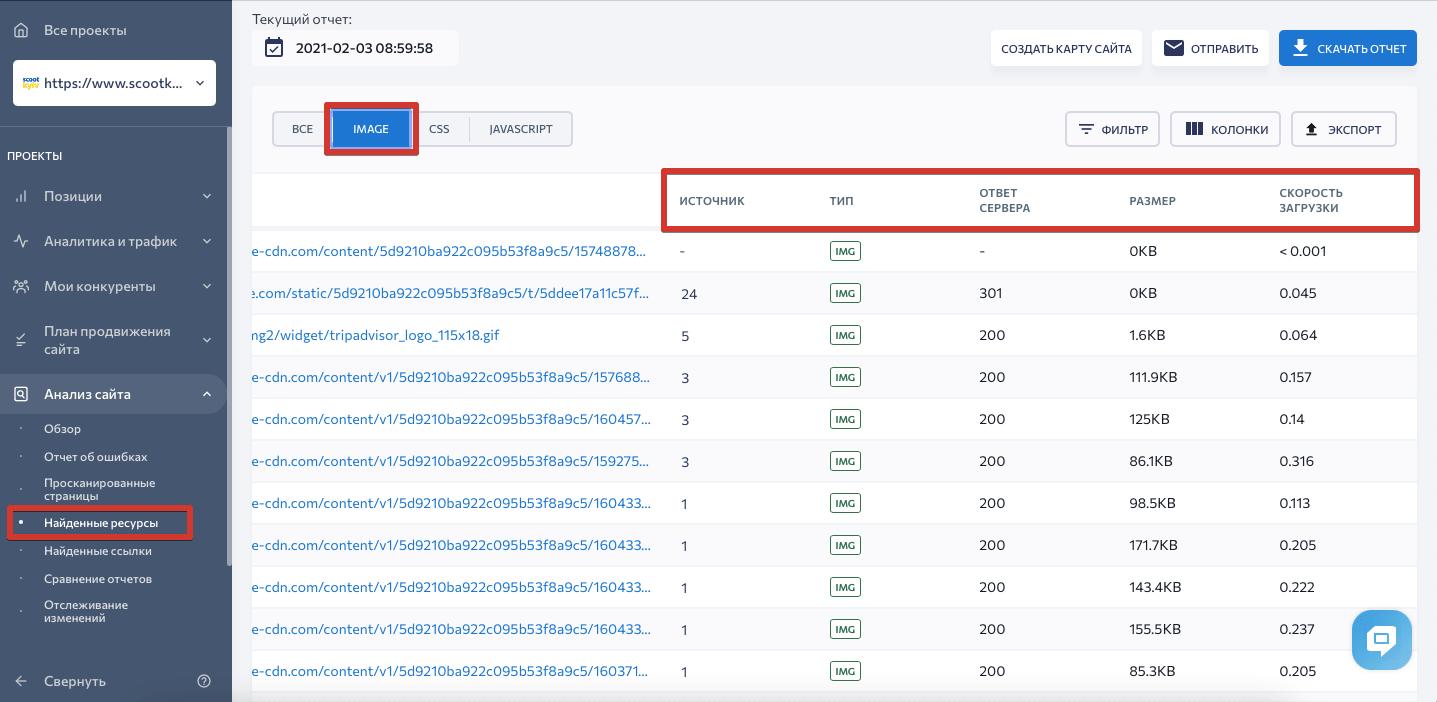 Детальная информация по изображениям в анализе сайта SE Ranking