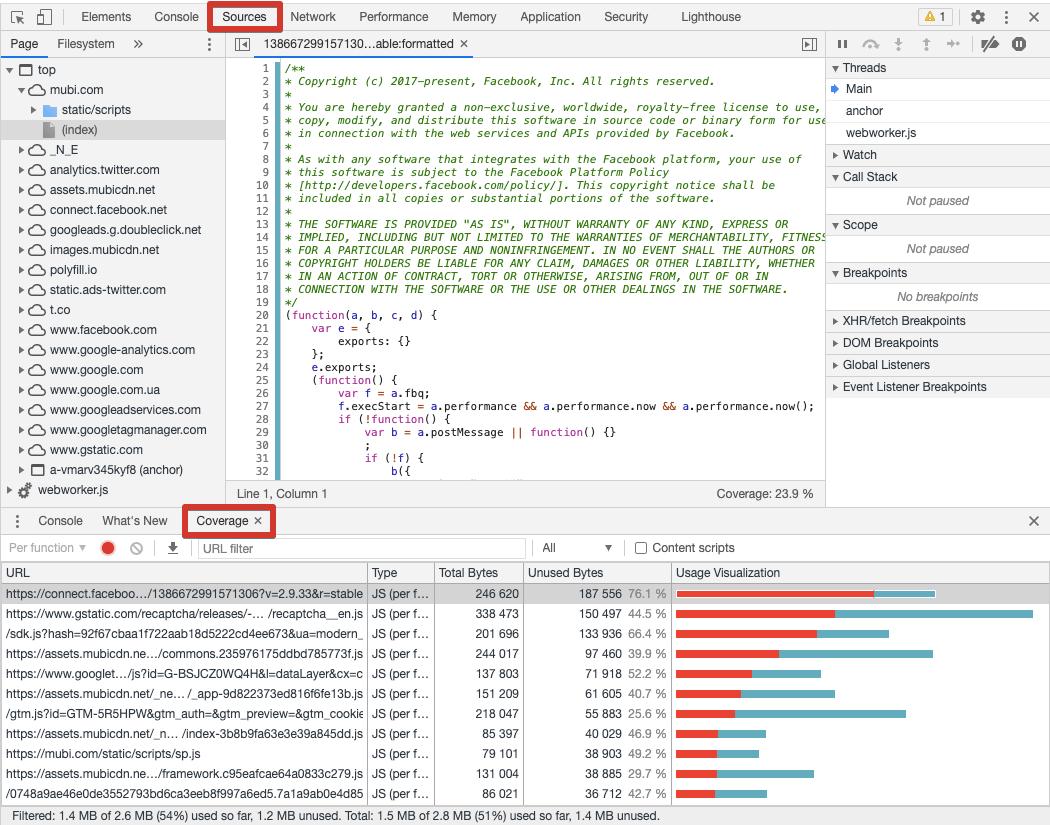 Статистика по файлам JS и CSS в Chrome Developer Tools