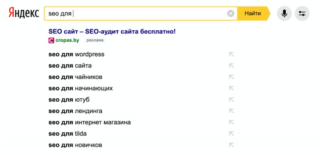 Функция автодополнения Яндекс