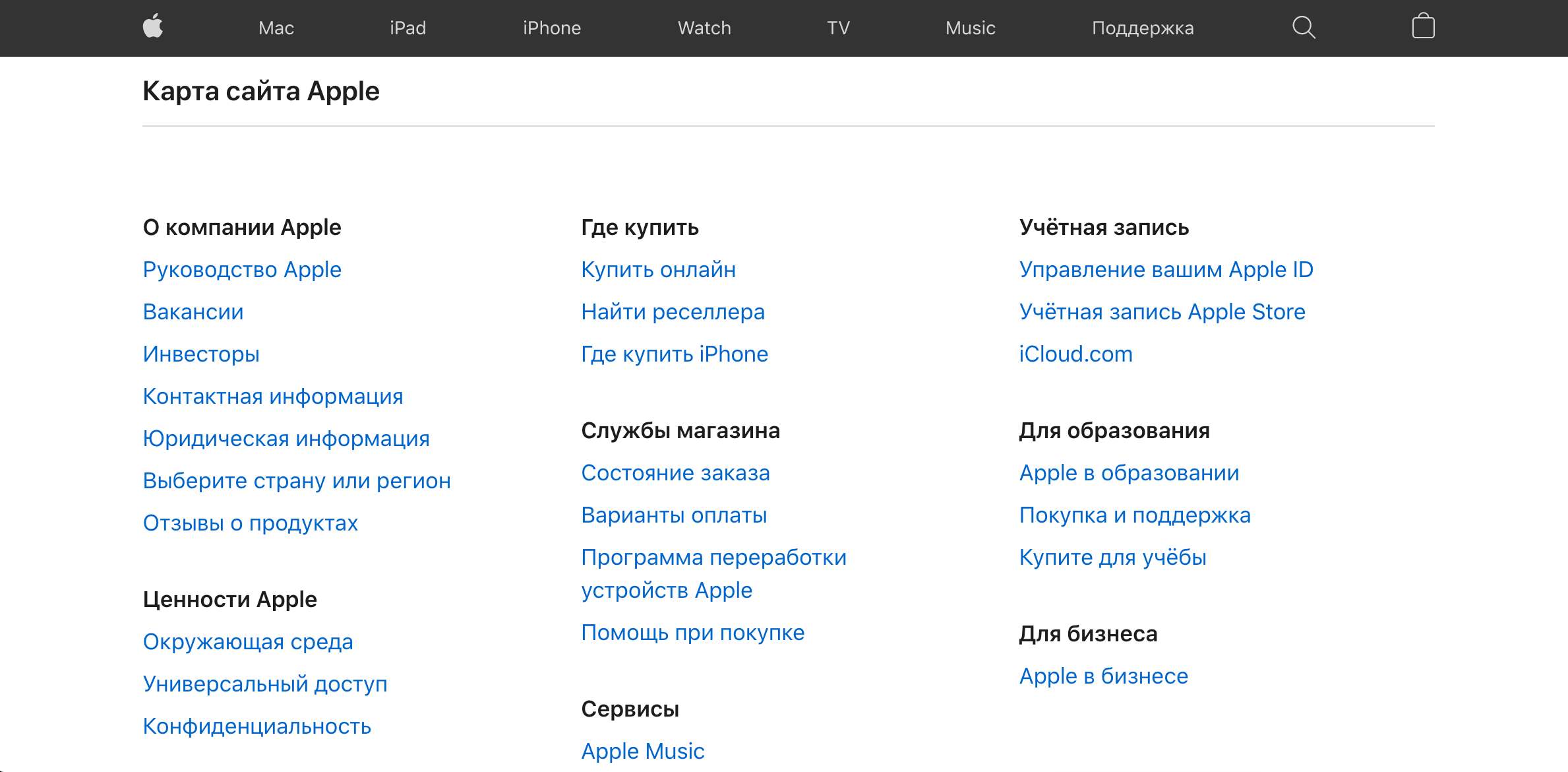 Карта сайта Apple