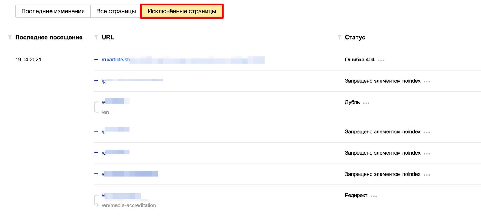 Исключенные страницы в Яндекс.Вебмастере