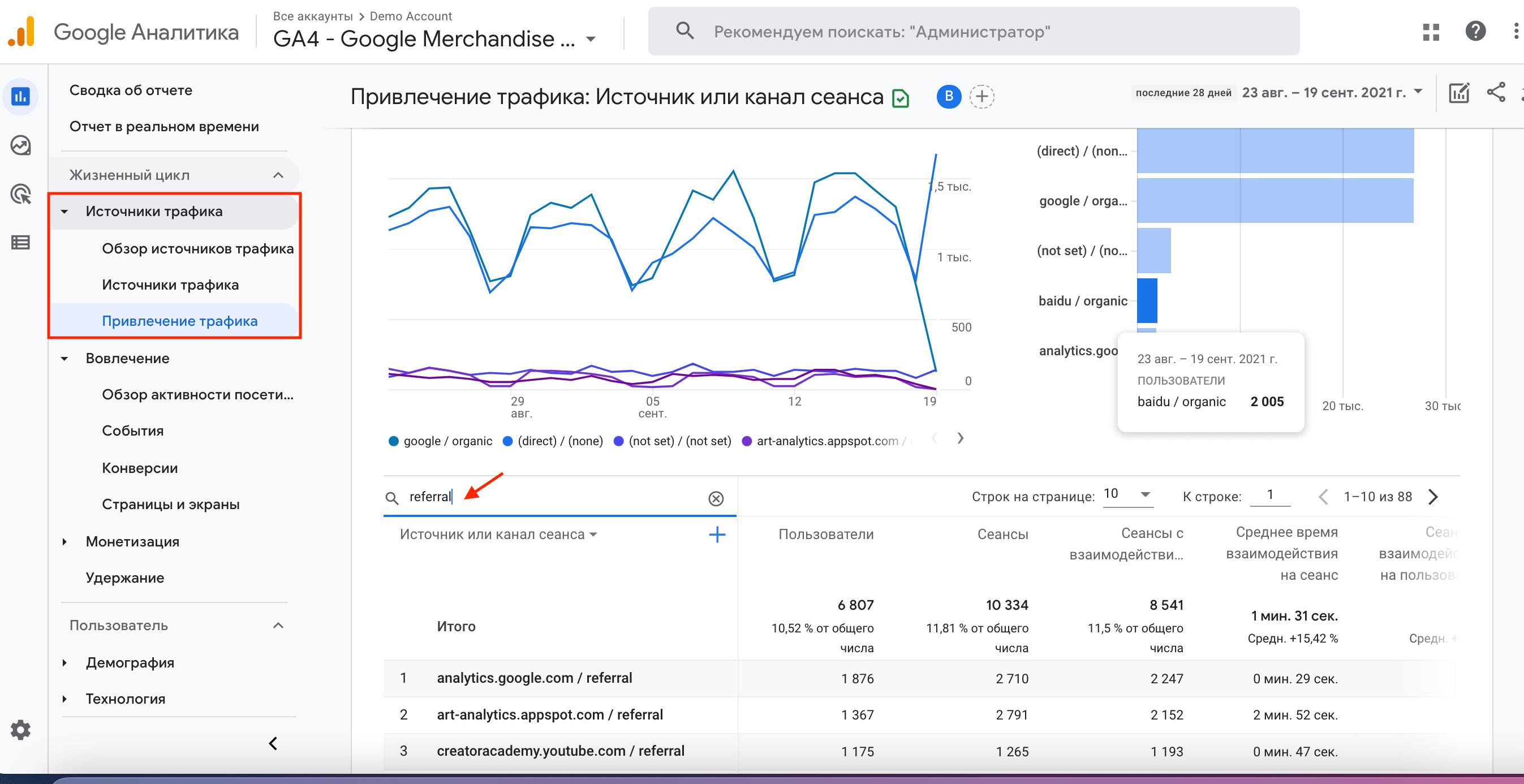 Отчет «Привлечение трафика» в Google Аналитике 4