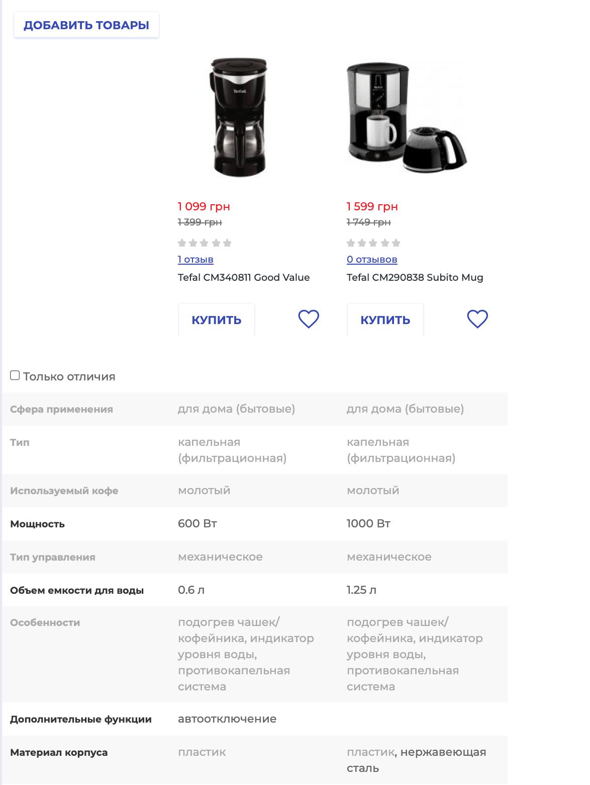 Страница сравнения товаров