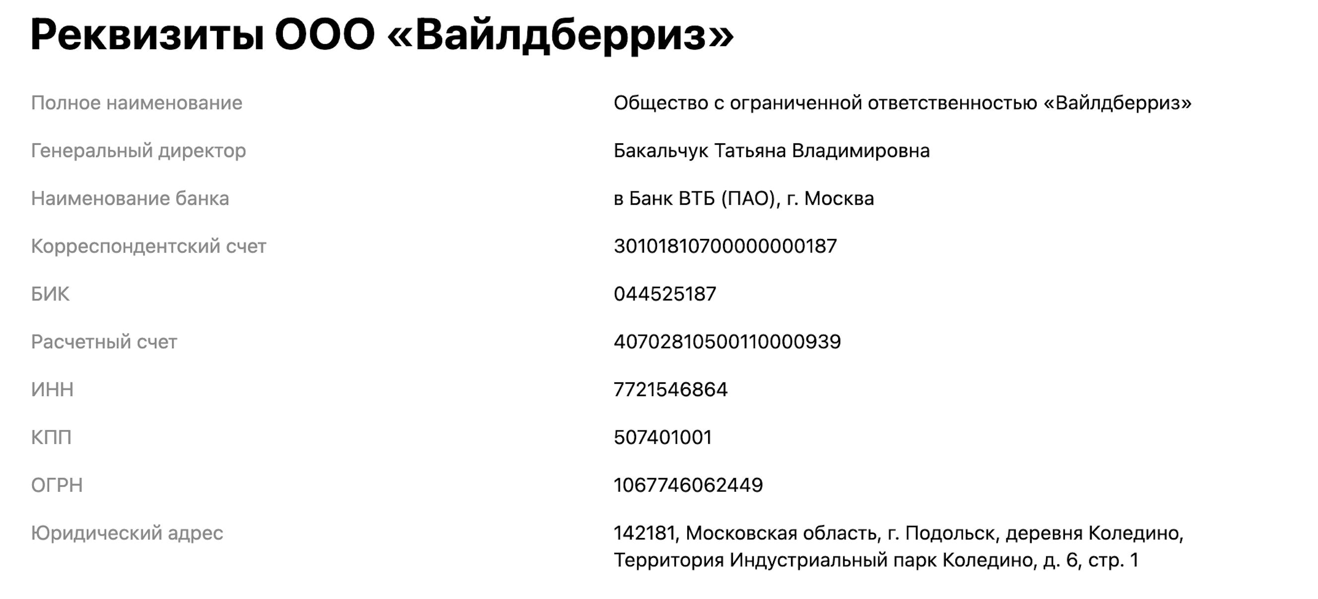 Реквизиты на странице «Контакты»